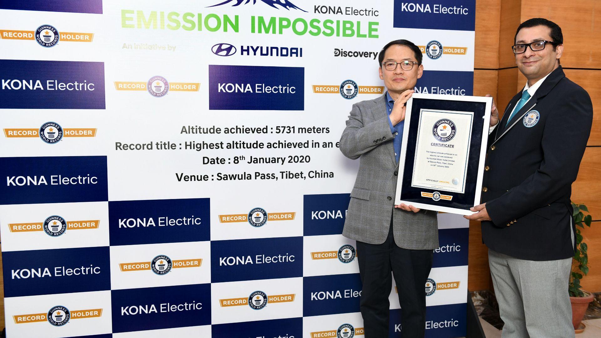 Hyundai Kona EV altitude record