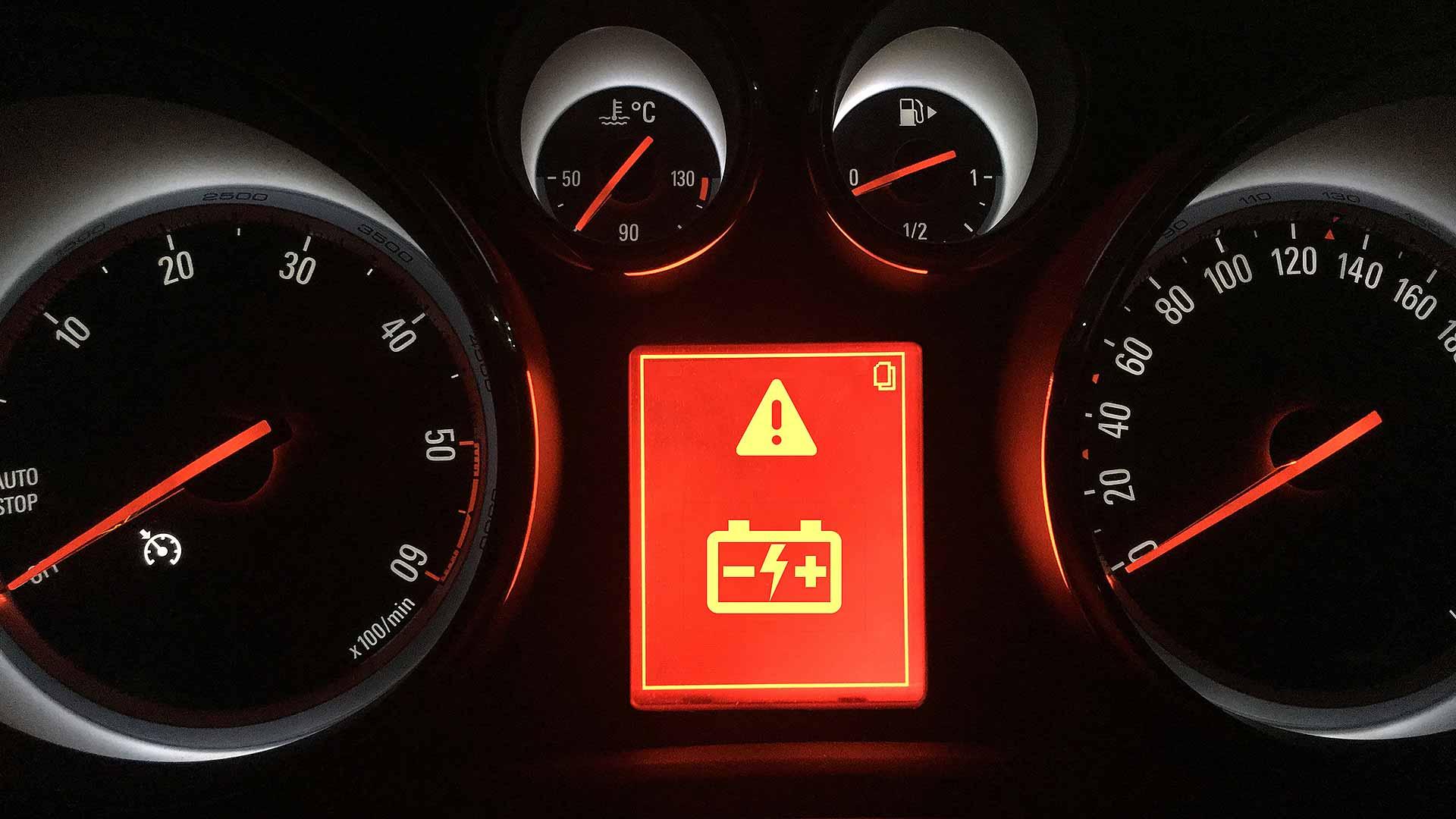 Flat car battery warning symbol