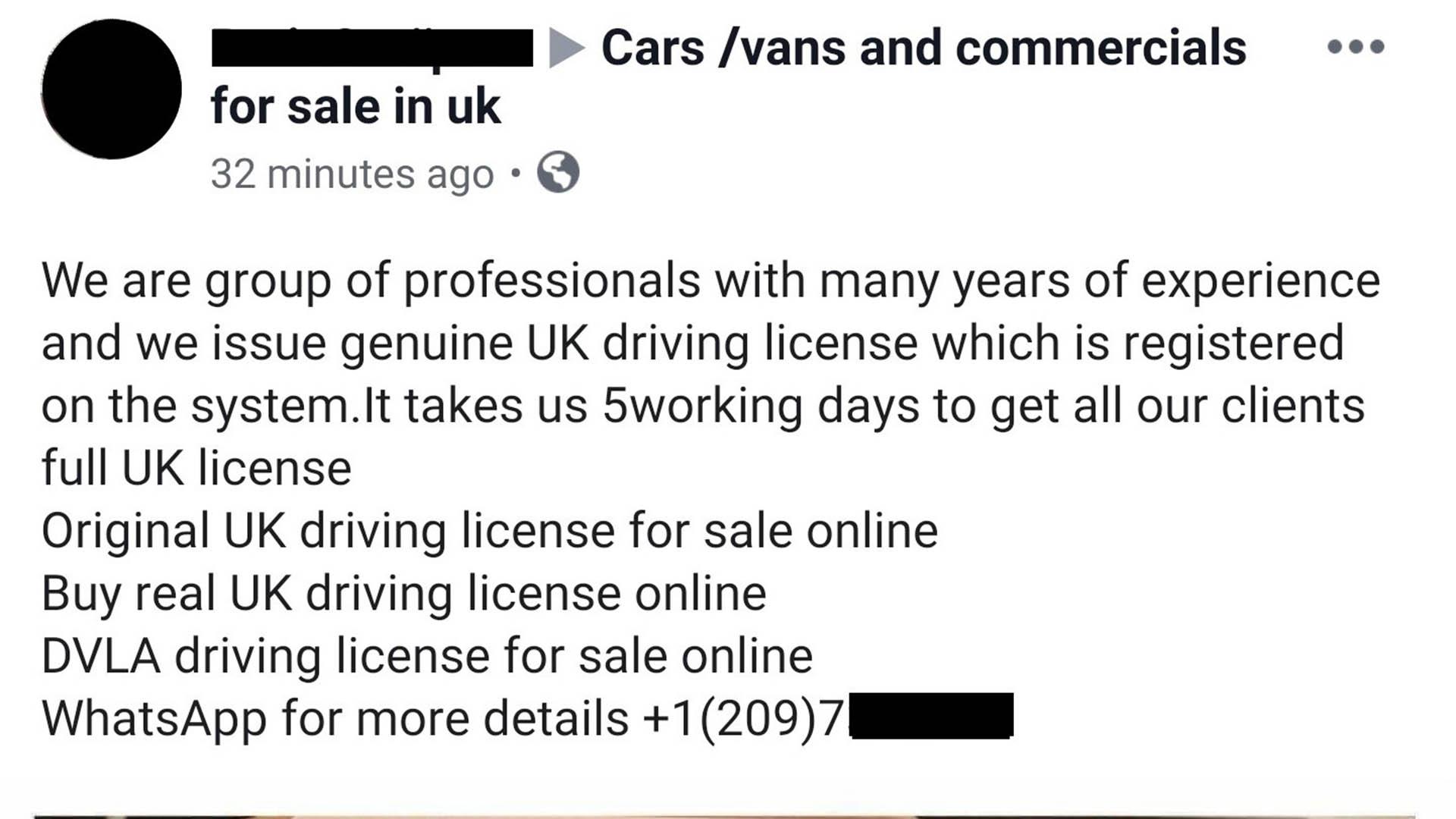 DVLA driving license scam