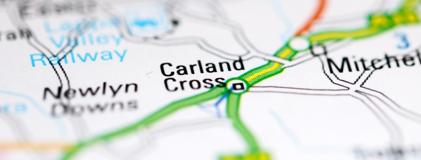New road Carland Cross in Cornwall