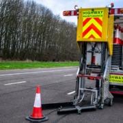 Highways England cone-laying machine