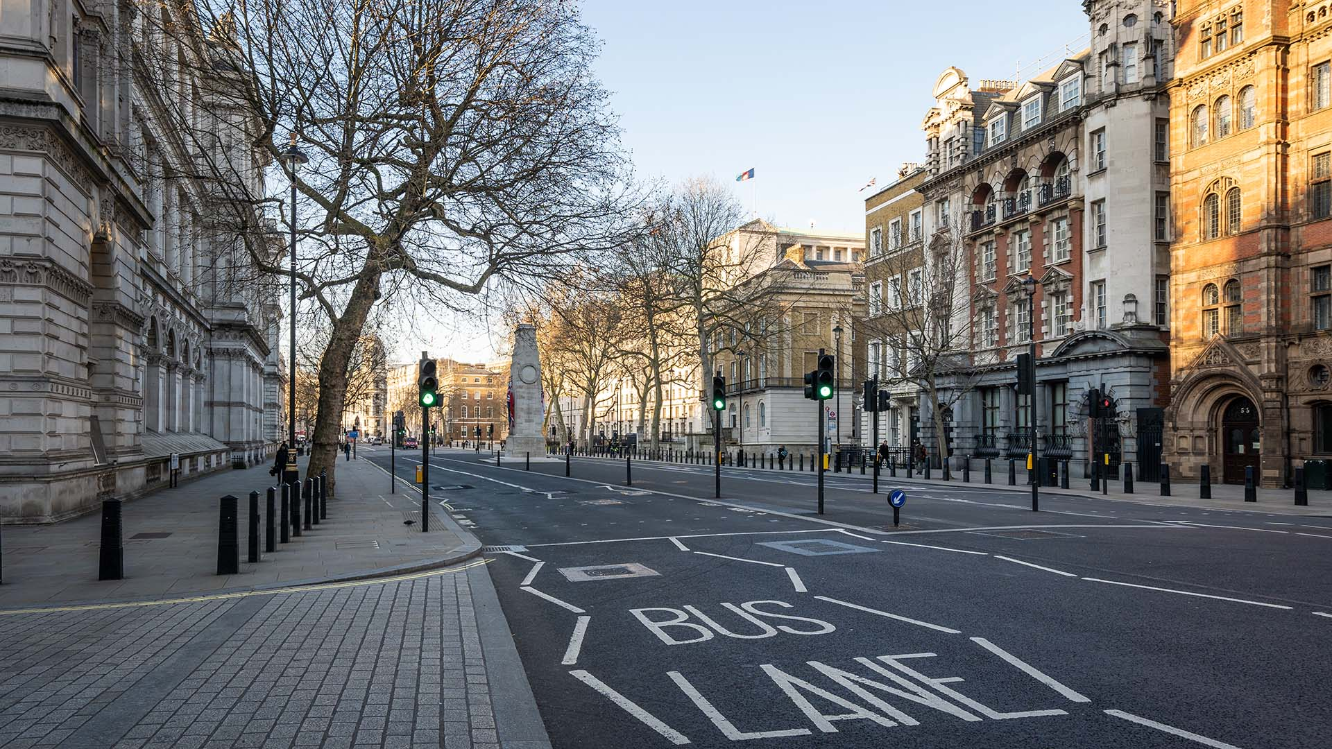 Empty London street during lockdown