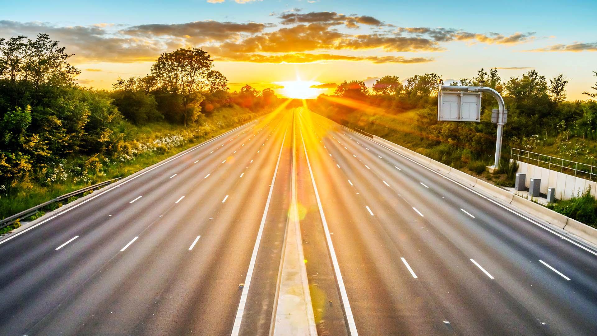Empty motorways due to coronavirus