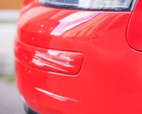 Scratch on car bumper