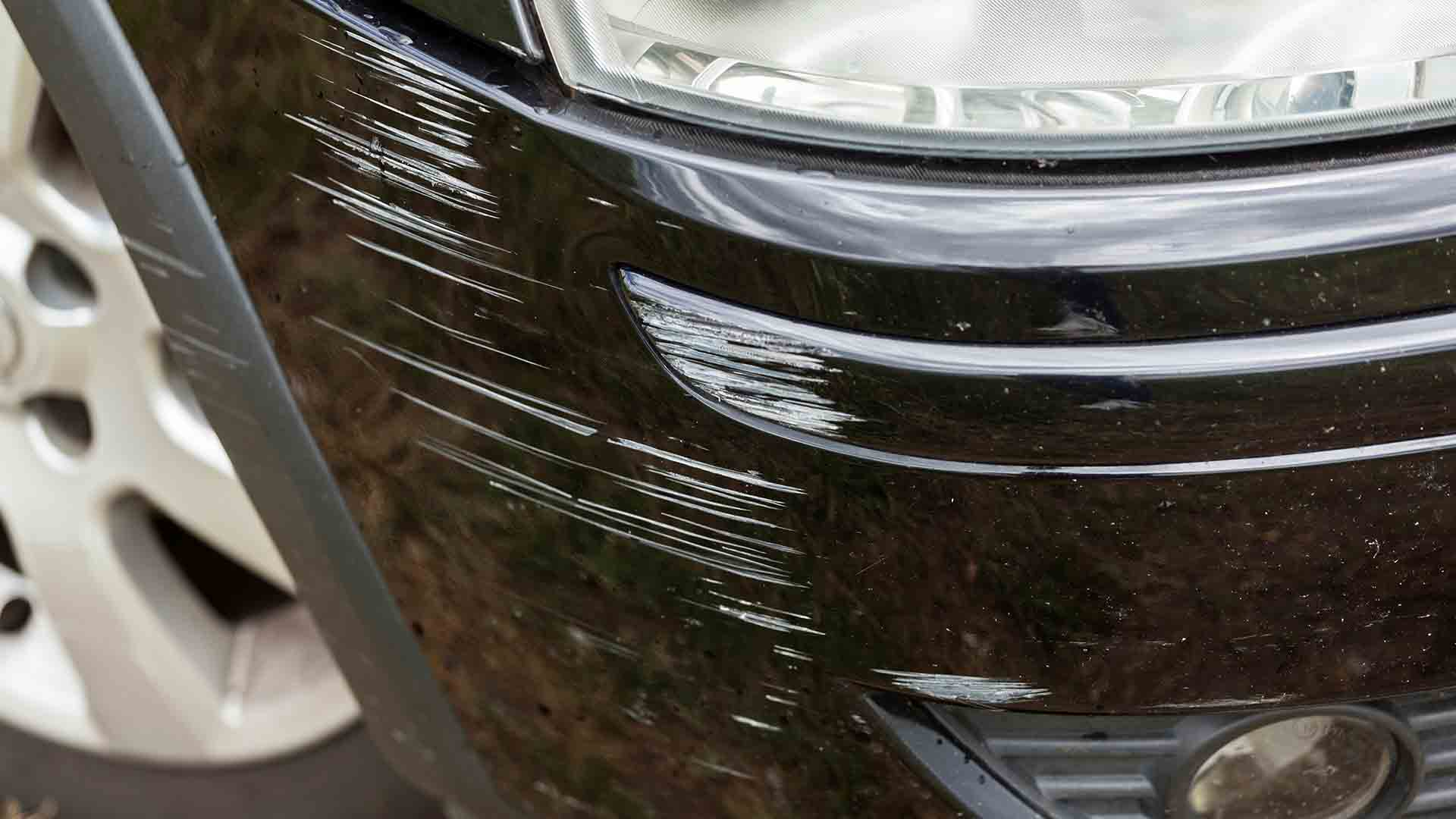 Scratches on car bumper