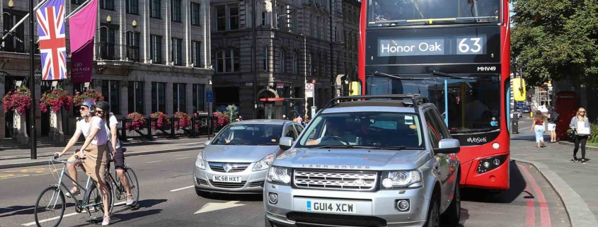 Cars, cyclists and a London bus