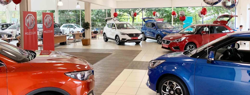 MG UK auto retail showroom