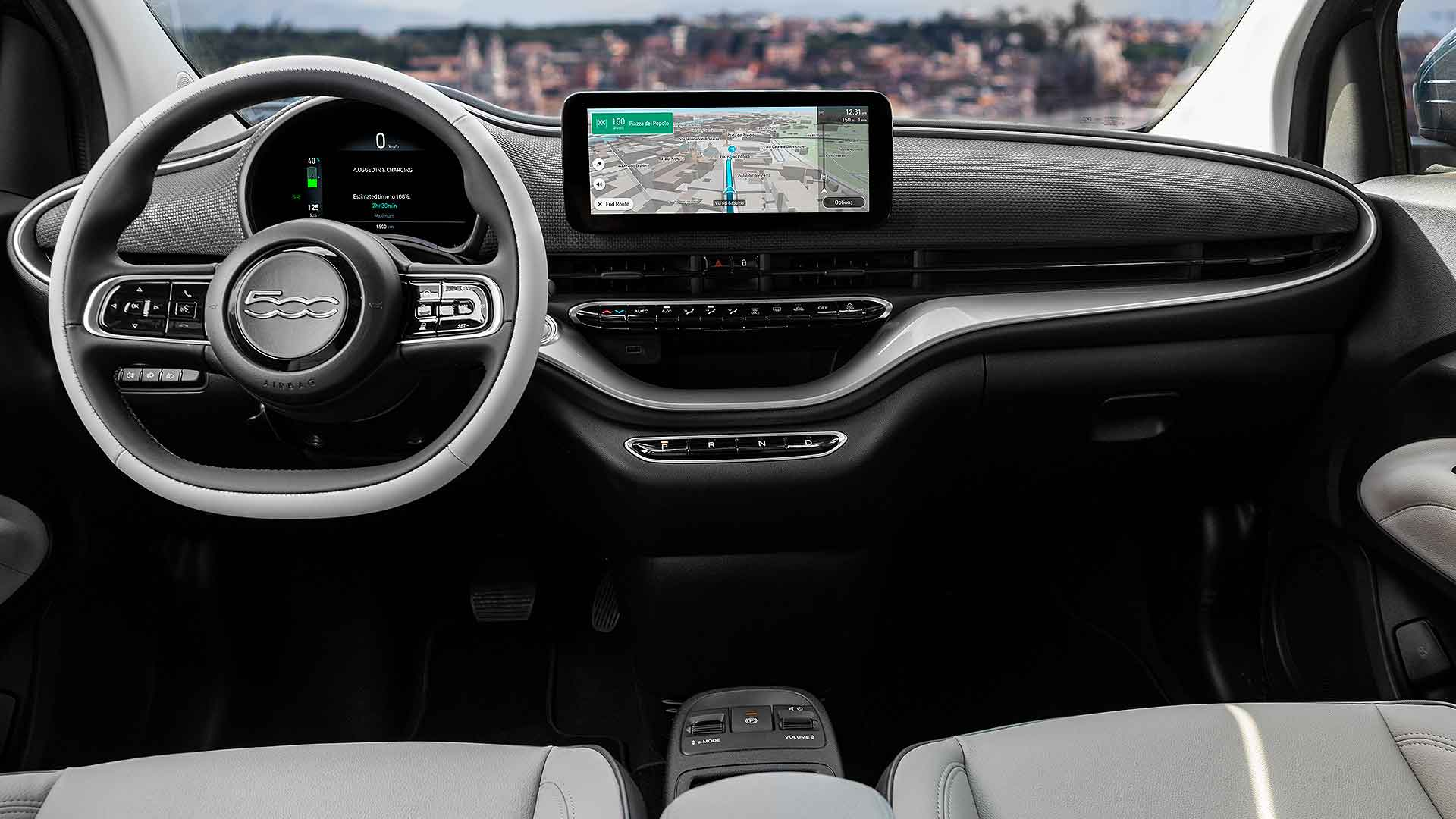 Electric Fiat 500 hatch interior