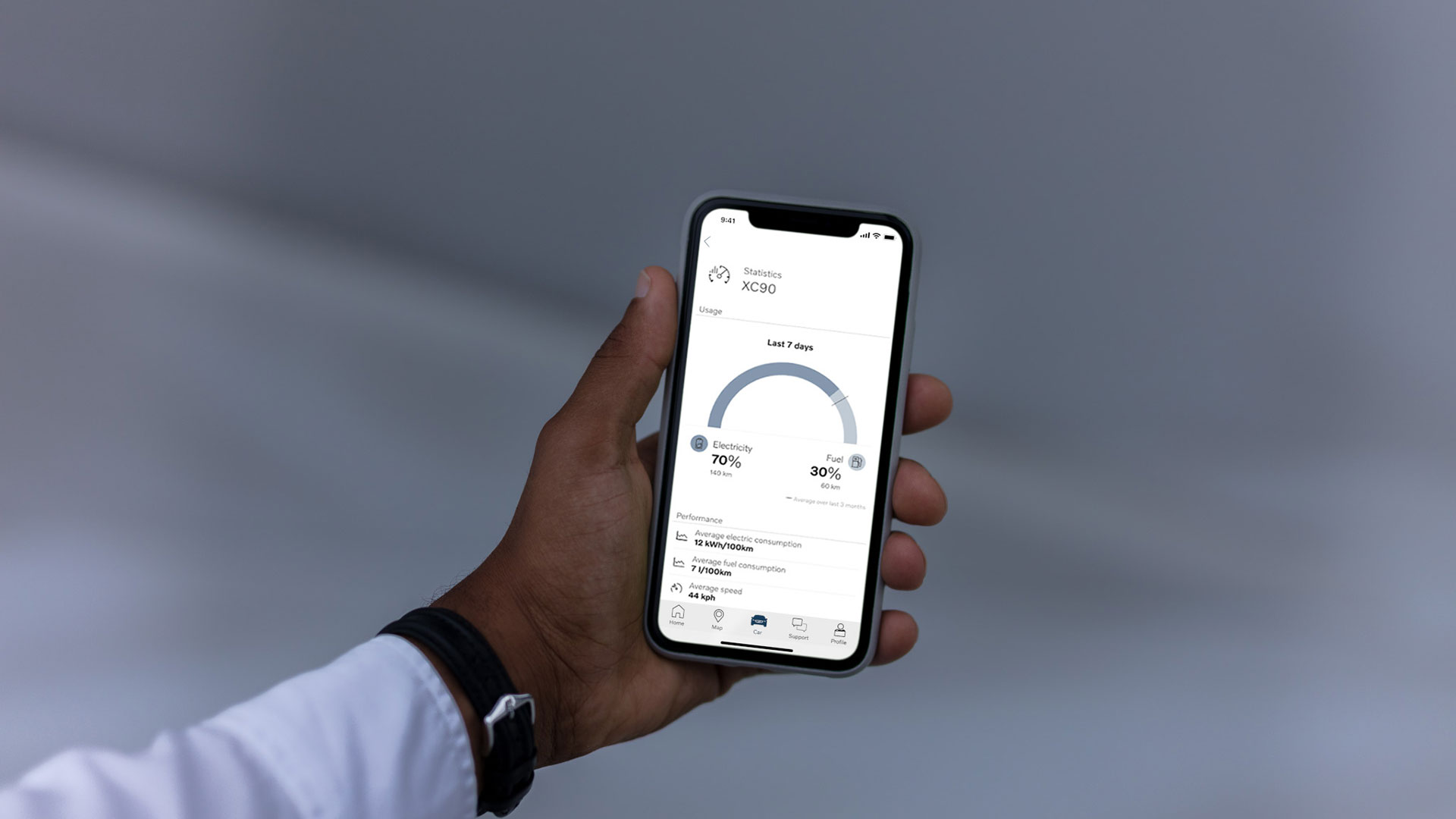 Volvo plug-in hybrid app