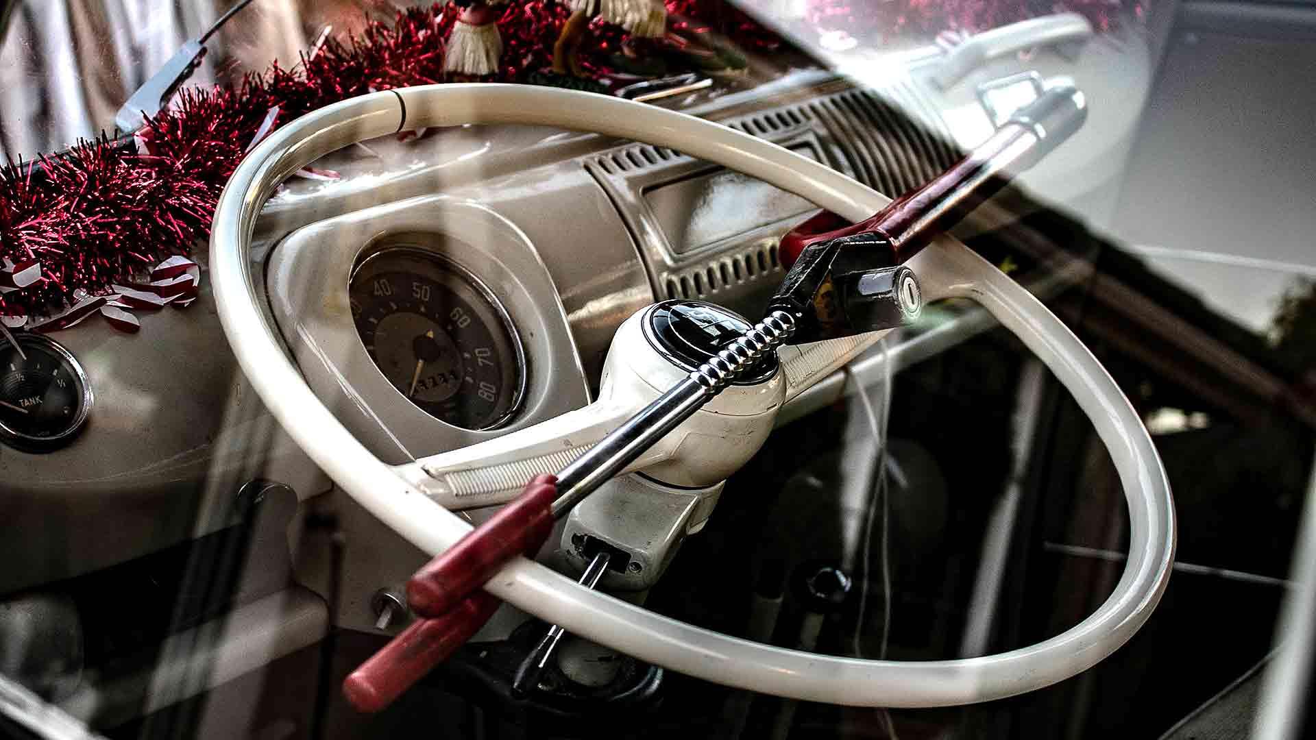 Steering wheel lock on a classic Volkswagen