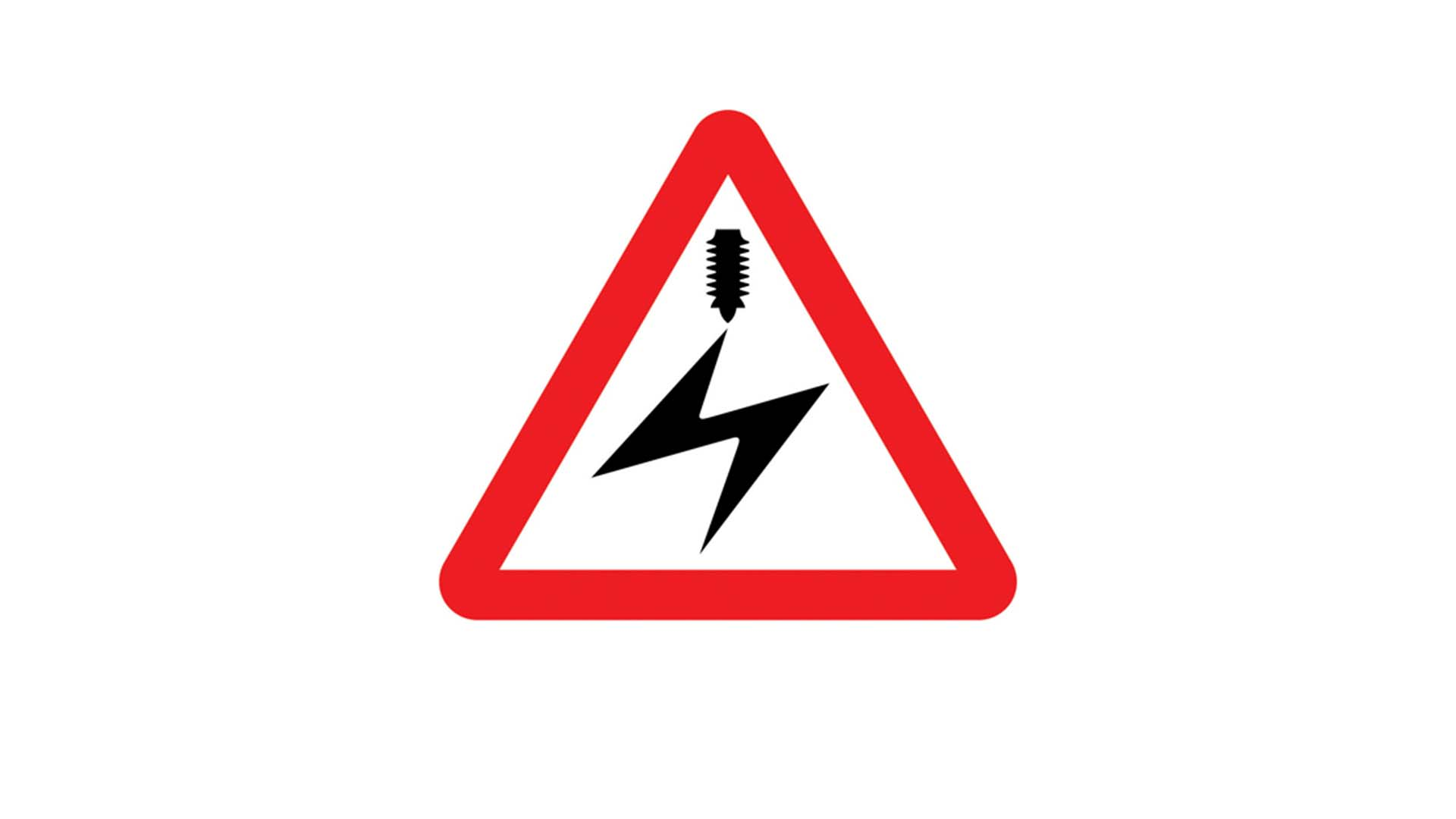 Overhead electric cables road sign
