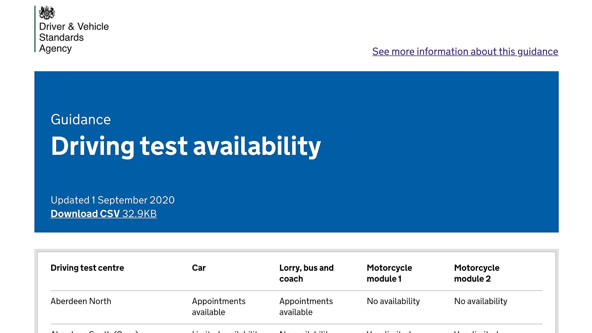 DVSA driving test availability online tool