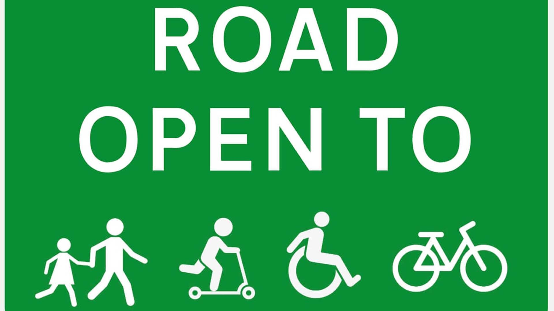 LTN Road Open To sign
