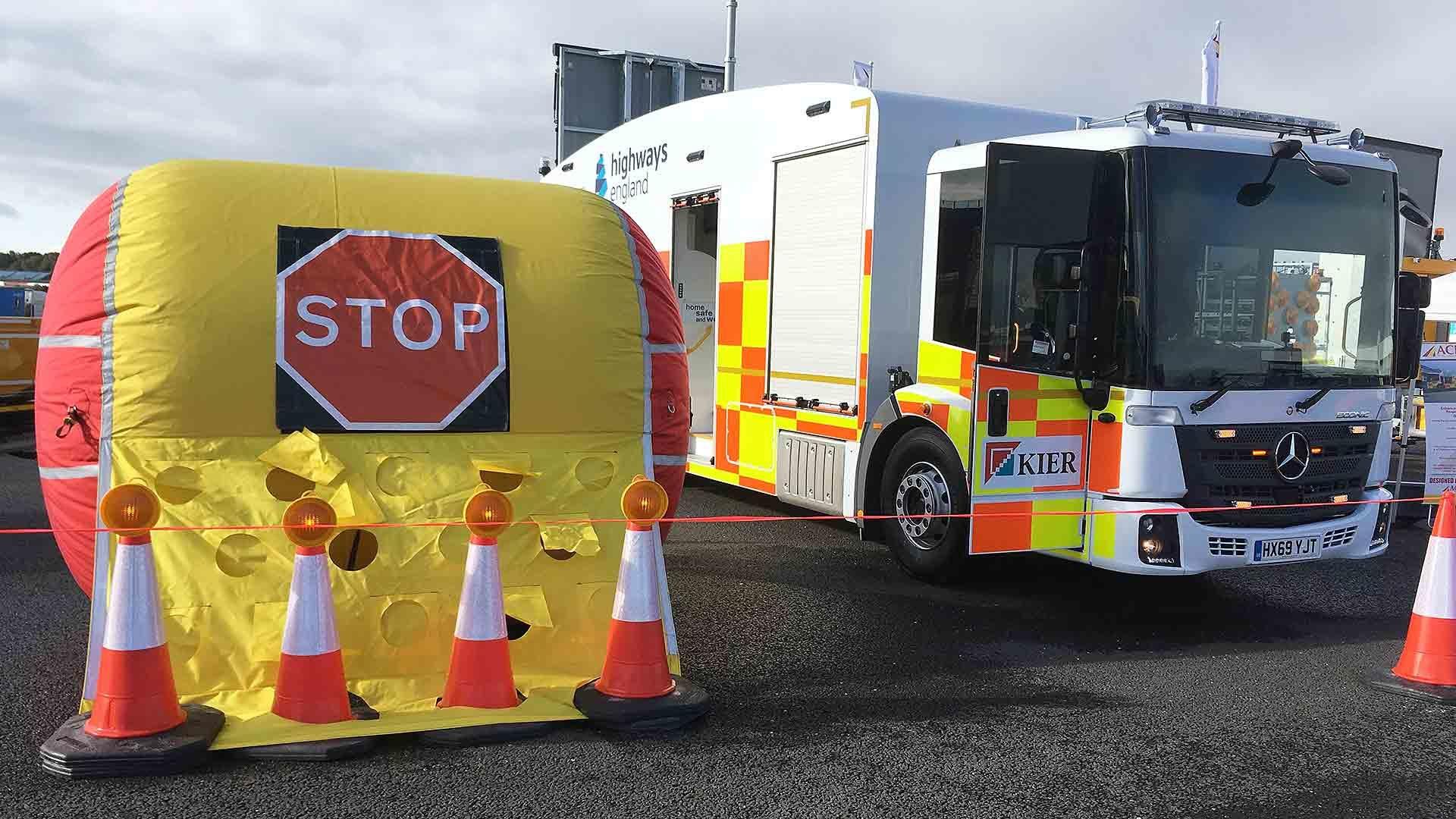 Highways England inflatable barrier