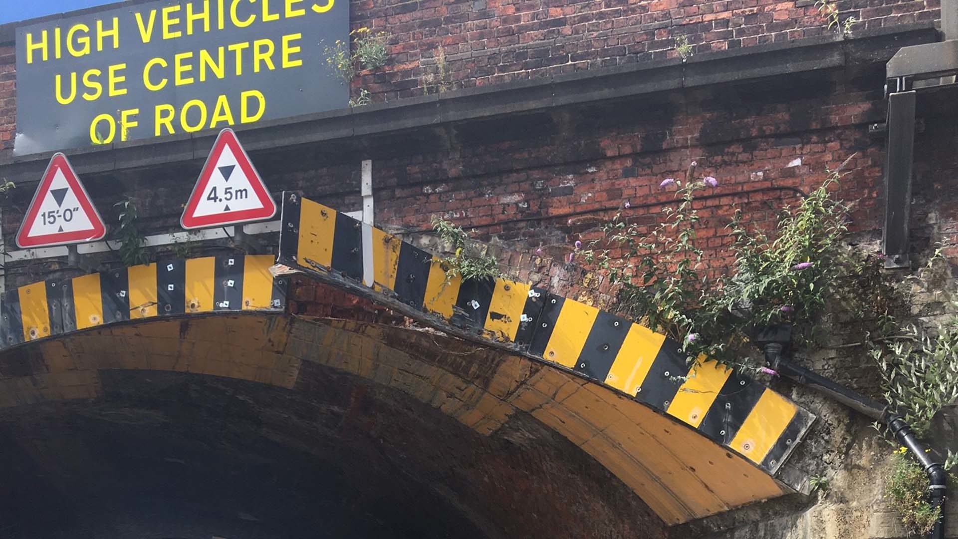 Damage to railway bridge